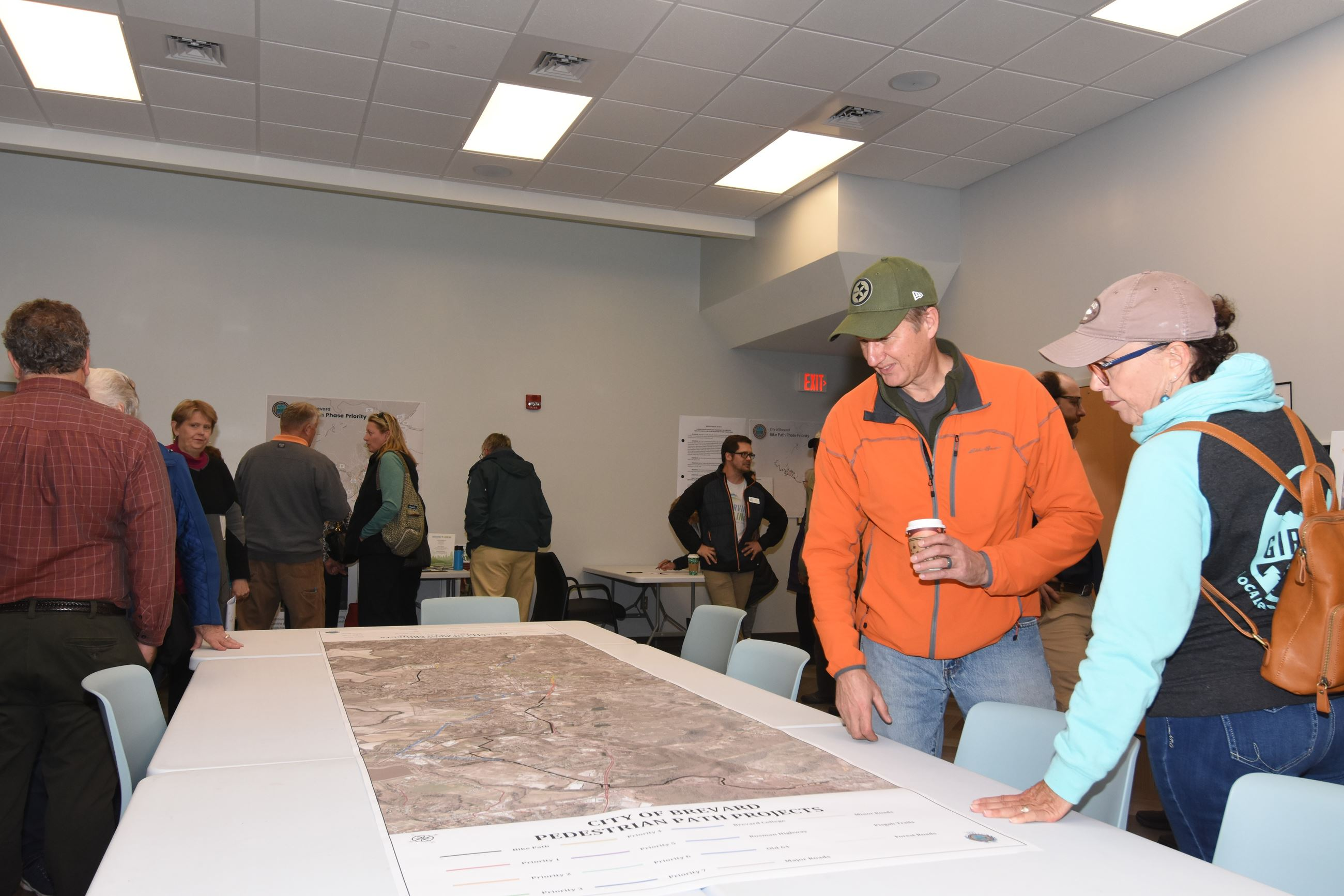 Participants view a map of the City&#39s proposed greenway additions