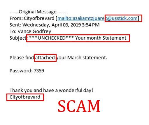 Scam Email Example Screenshop