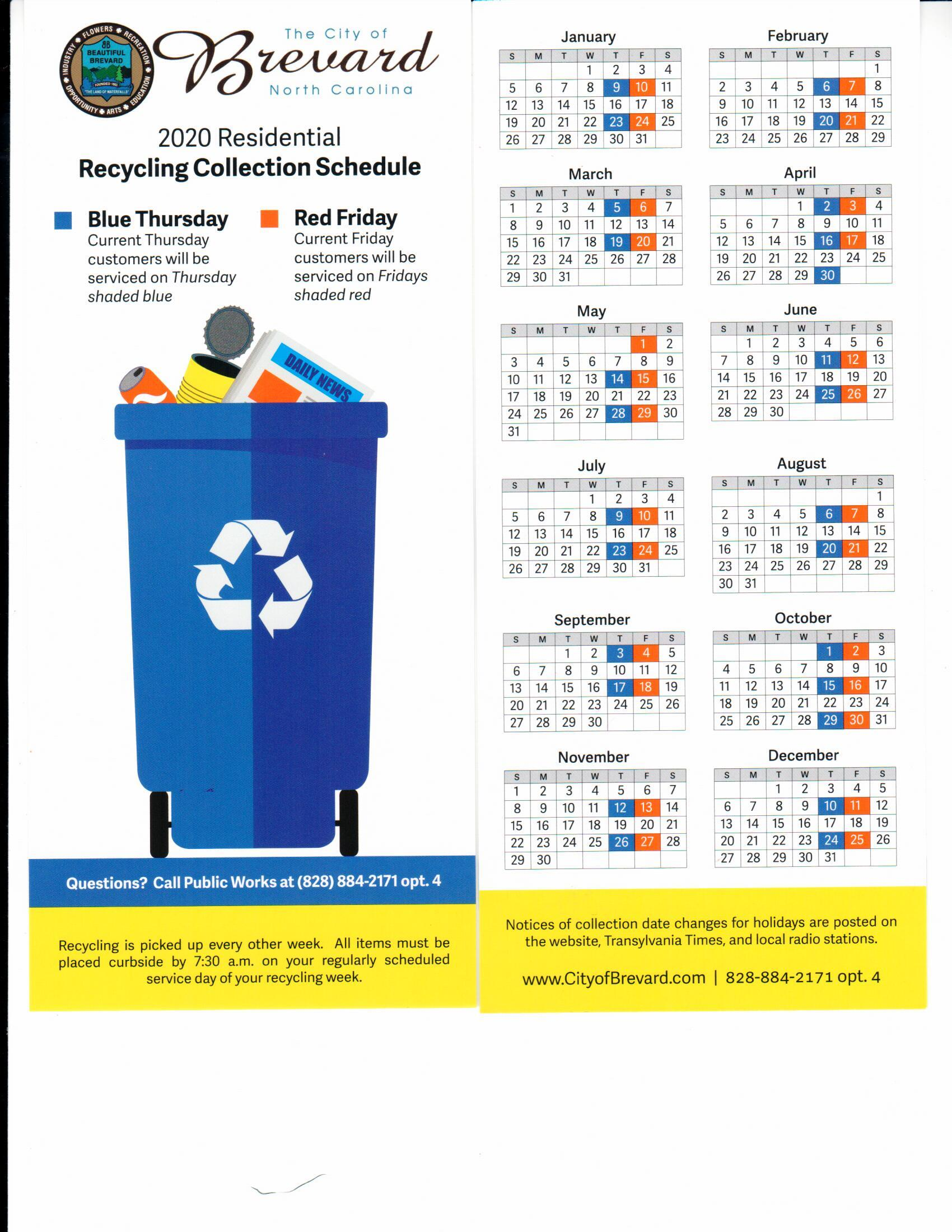 Residential Recycle Schedule 2020