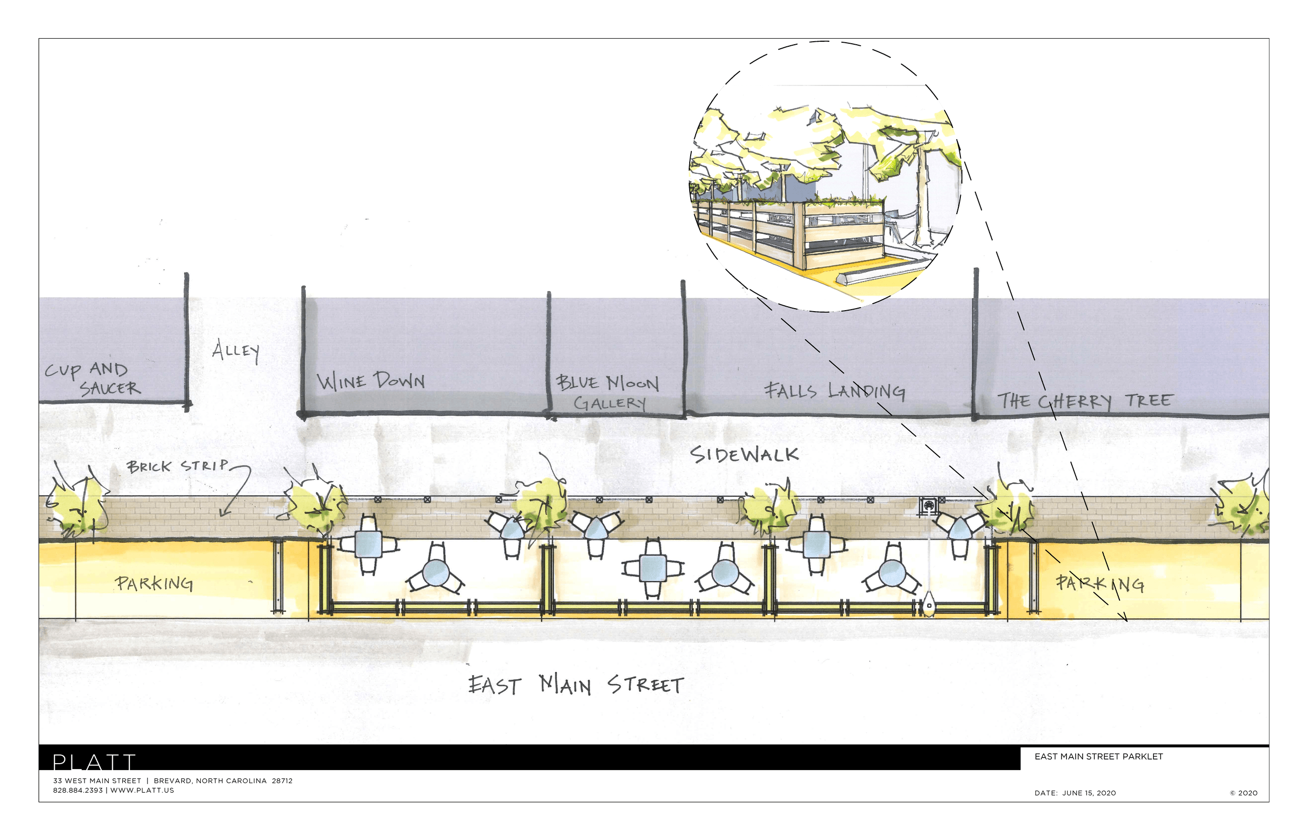 Rendering of the placement of the initial Streetscape Pilot Program parklets.
