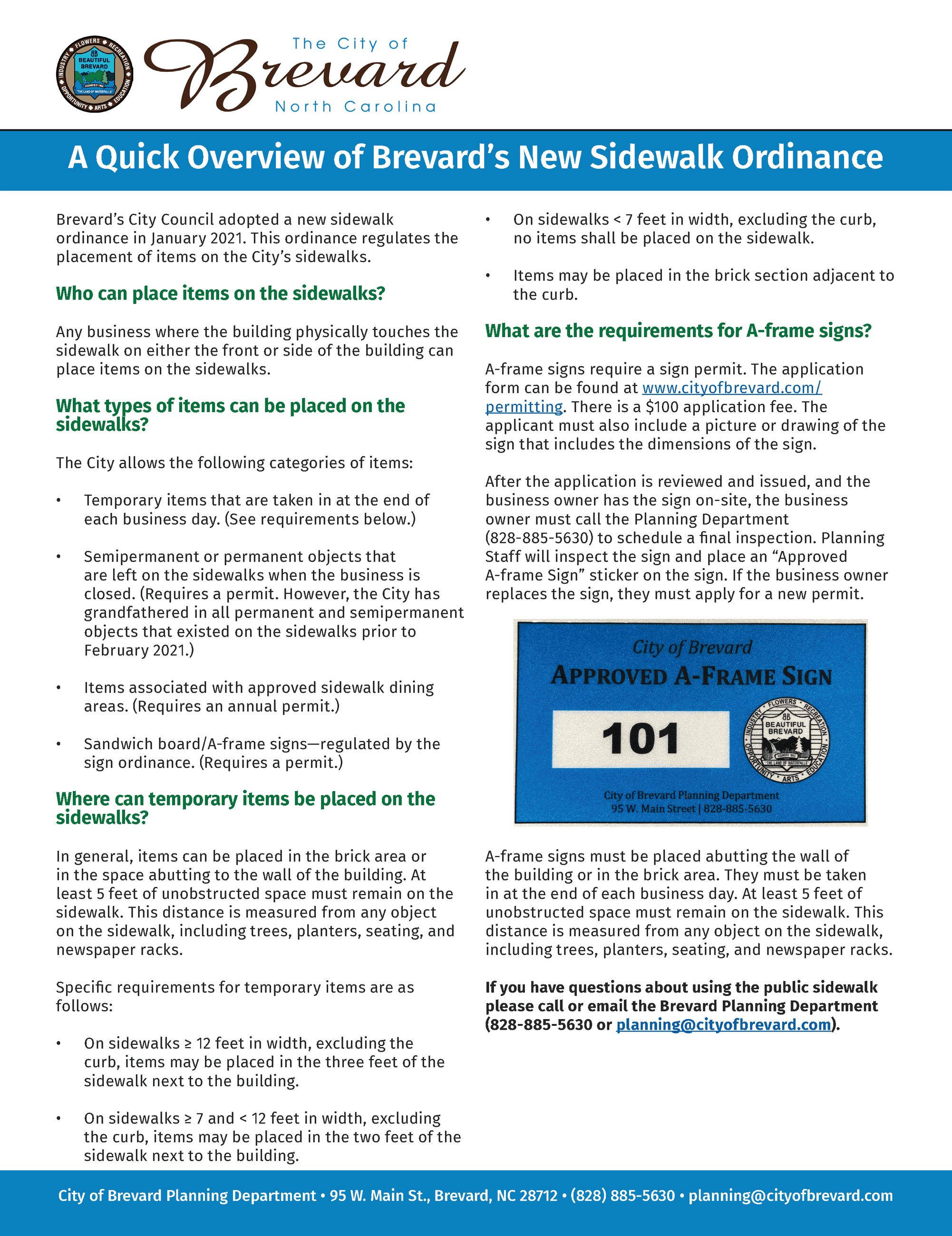 A Quick Overview of Brevard's New Sidewalk Ordinance