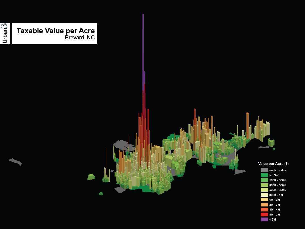 3D Map of Tax Value Per Acre