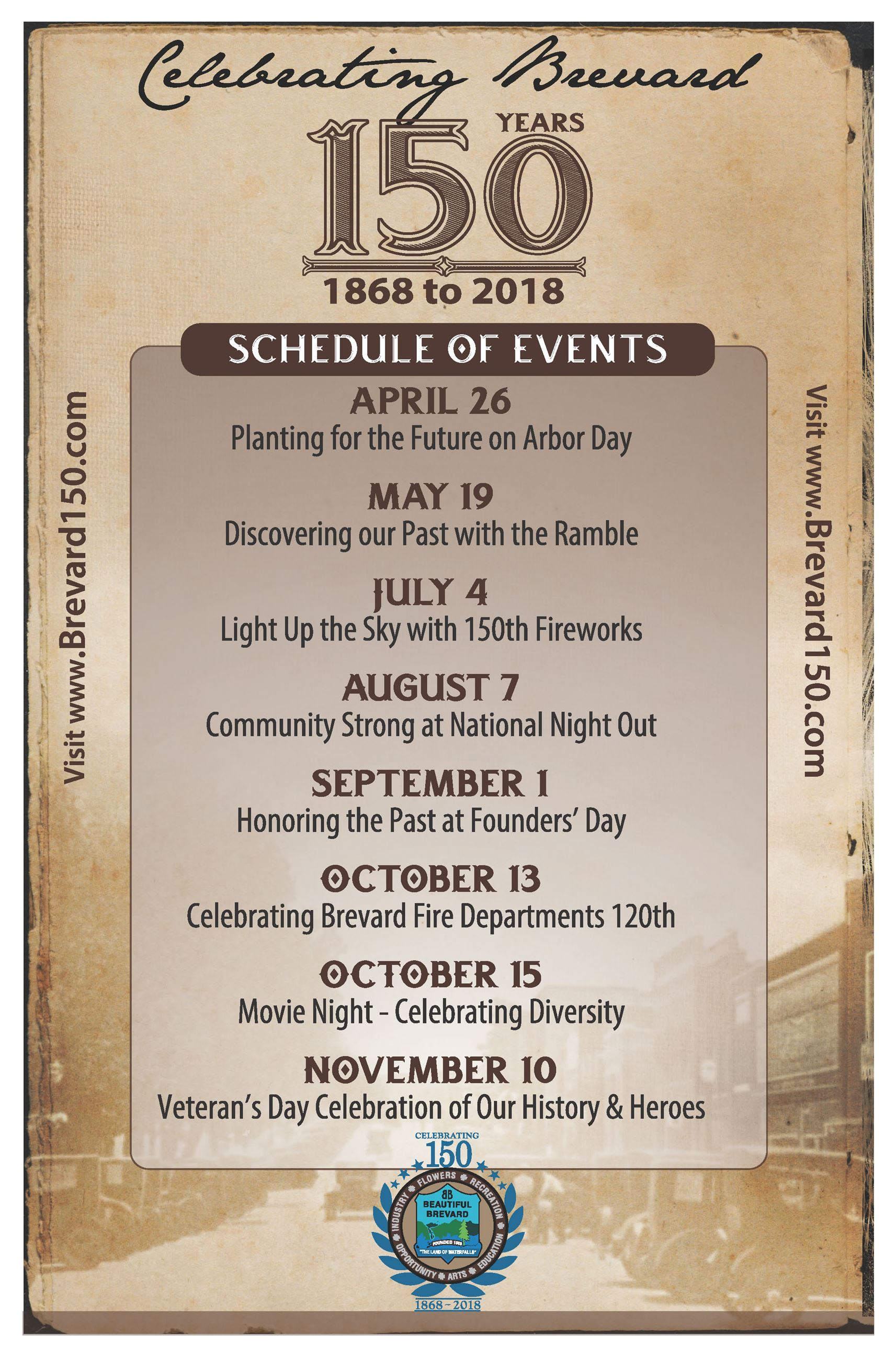 150th event schedule